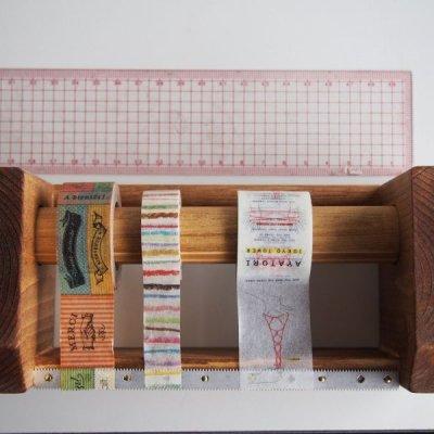 画像3: 346木製マスキングテープカッター&スタンド ブラウン