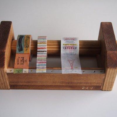 画像1: 346木製マスキングテープカッター&スタンド ブラウン