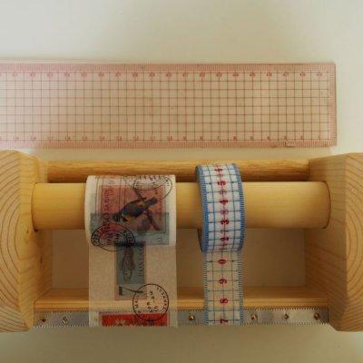 画像1: 346木製マスキングテープカッター&スタンド ナチュラル
