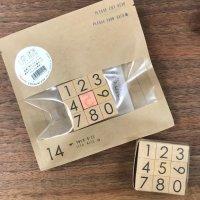 捺暦(ナツコヨミ)貼暦の数字と同じフォントの数字スタンプ14mm 9本フルセット